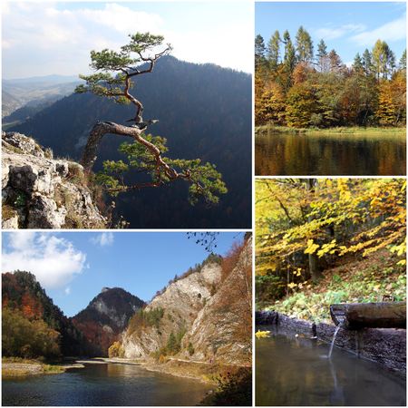 set of photos from autumn scenery of Pieniny Mountains in Poland  photo