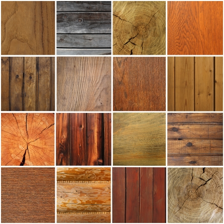 Collection of different wood background