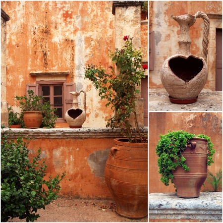 set of photos from ancient greek courtyard with terracotta flowerpots photo