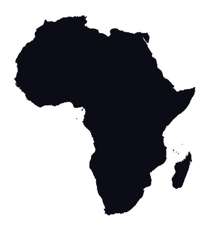 black and white map of Africa Vector