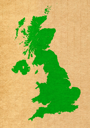 Green map of United Kingdom on carton background photo