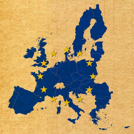 Carte et drapeau de l'Union européenne de carton de papier texture Banque d'images