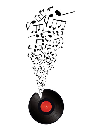 music notes takes off vinyl  Vector