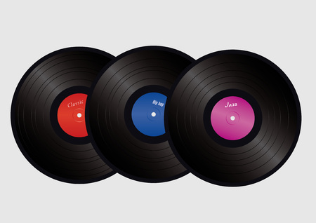 disco party: three vinyls with colorful labels