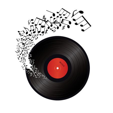 muziek noten die uit het gat in de vinyl