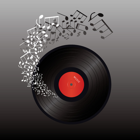 vinyl and music notes on dark background  Vector