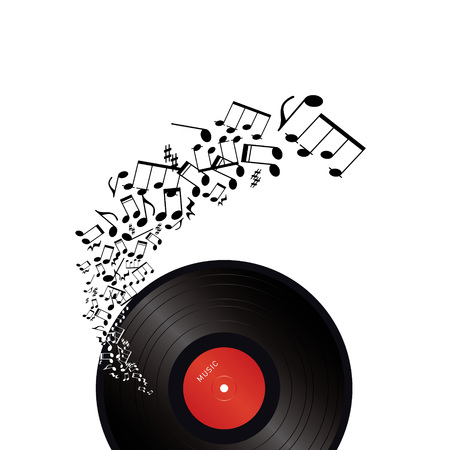 vinyl with music notes on white background  Illustration