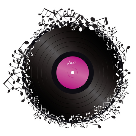 vinyl surrounded by music notes on white background  Vector