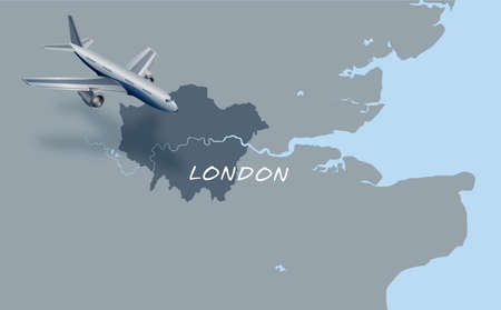 jet plane flying over map of London  Vector