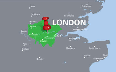 london street: map of London with red push pin