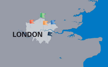 london map with colorful flag pins  Vector