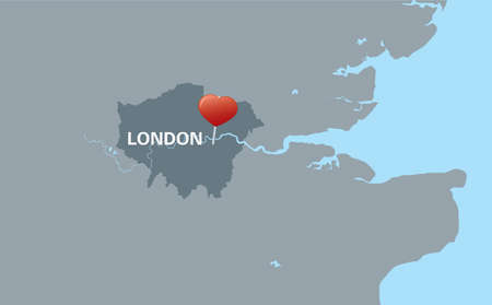 london street: London map with red heart pin  Illustration