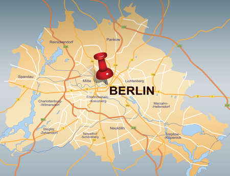 map of Berlin with red push pin  Vector