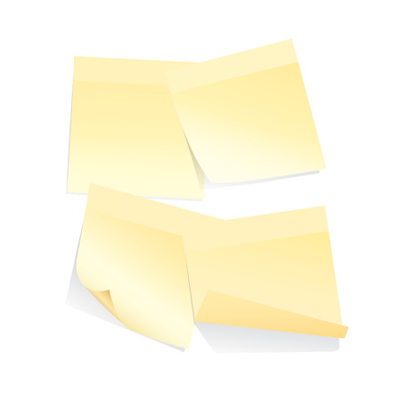 thumb tack: four yellow stick notes on white background