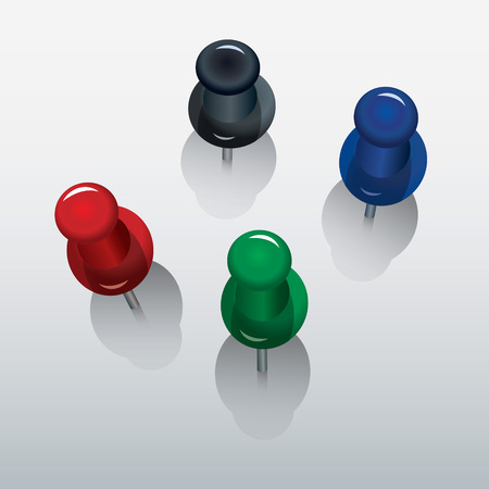 thumb tack: four colorful push pin with shadows