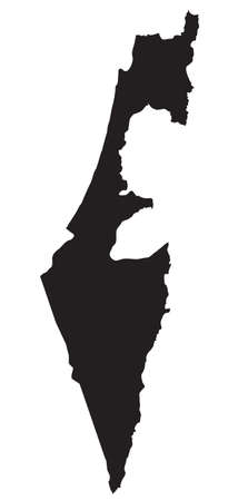 black and white map of Israel