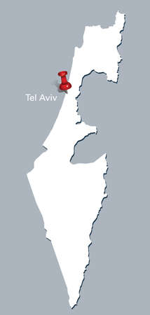 aviv: map of Israel with red push pin indicating Tel Aviv