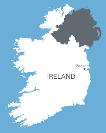 dublin: white map of Ireland with the indication of Dublin Illustration