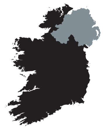 black map of Ireland Vector