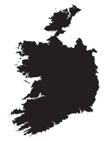 black and white map of Ireland Vector
