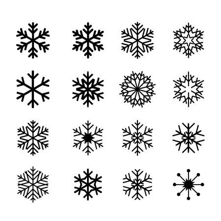Collection of black snowflakes Vector