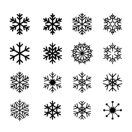 snowflake set: Collection of black snowflakes