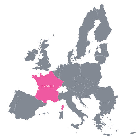 corsica: Map of European Union with the location of France