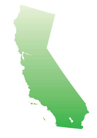 California map- green on white Vector