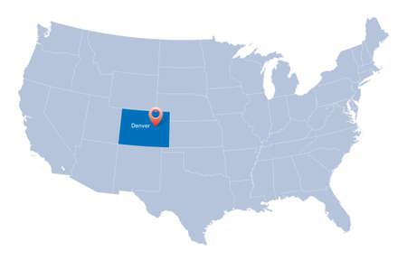 Денвер: Карта США с указанием штата Колорадо и Денвере