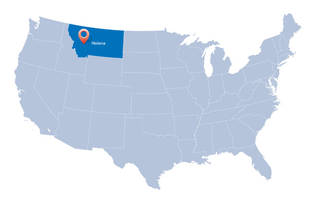 USA map with the indication of State of Montana and Helena town  Vector
