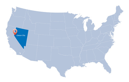 carson city: map of USA with the indication of State of Nevada