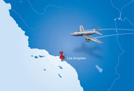 los angeles: Flugzeug �ber USA-Karte Flugzeug nach Los Angeles fliegen