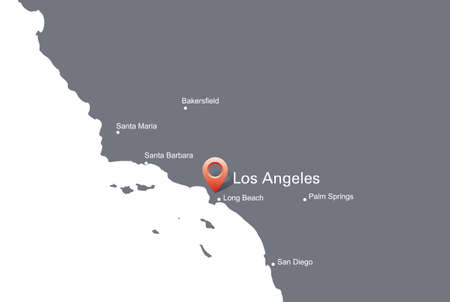 indication: Map of California with the indication of Los Angeles