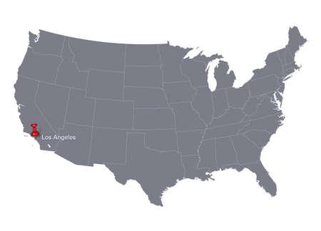 los angeles: Grau USA-Karte und Push-Pin zeigt auf Los Angeles
