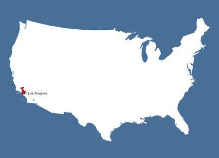 los angeles: Wei� USA-Karte und Push-Pin zeigt auf Los Angeles