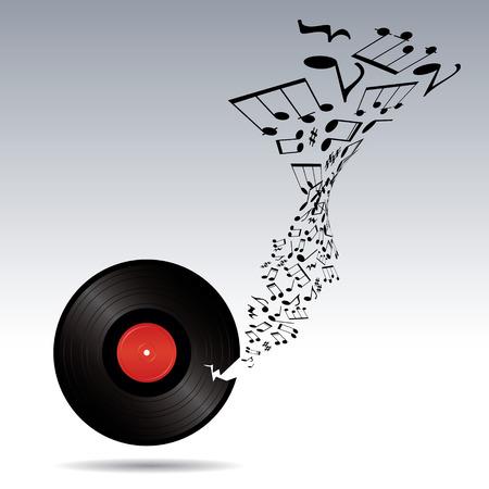 Music notes takes off from broken vinyl Illustration