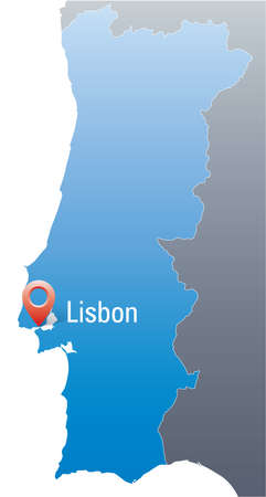 blue map of Portugal with marker in the position of Lisbon  Vector