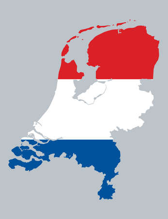 Map and flag of Netherlands Vector