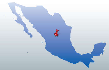 mexico city: blue map of Mexico with red push pin indication the position of Mexico City Illustration