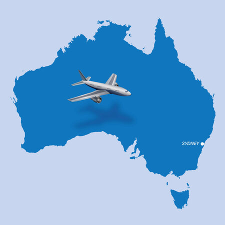 australia map: airplane over blue map of Australia, concept of flight to Sydney Illustration