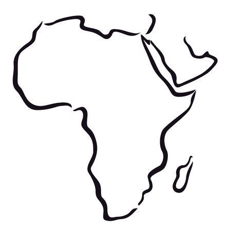 アフリカ、アラビア半島の黒と白の地図