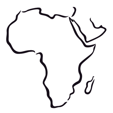 black and white map of Africa and Arabian Peninsula  Vector