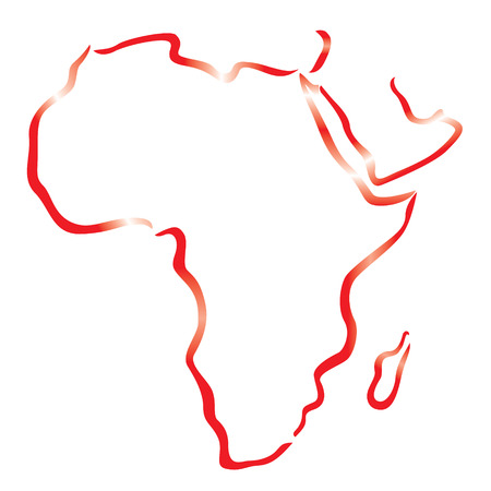 red outline of Africa and Arabian Peninsula map