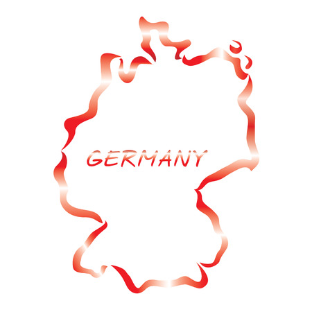red outline of Germany map Vector