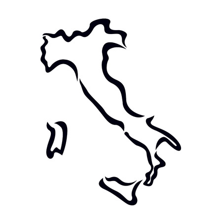 black outline of Italy map