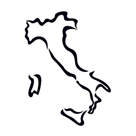 zwarte omtrek van Italië kaart