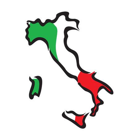 rome italie: carte et le drapeau de l'Italie