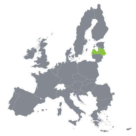 map of European Union with the indication of Latvia  Vector