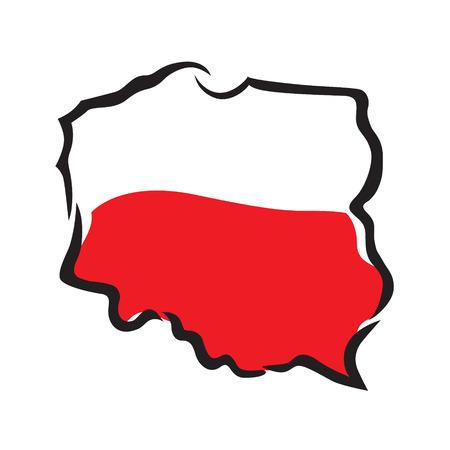 抽象的な地図とポーランドの旗