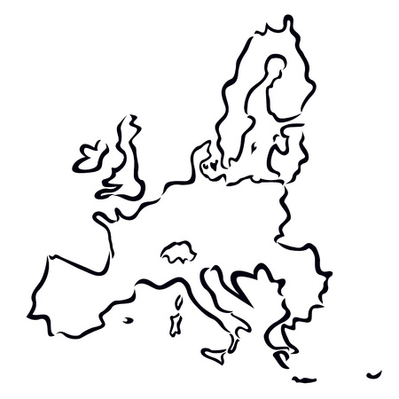 black abstract map of European Union  Vector